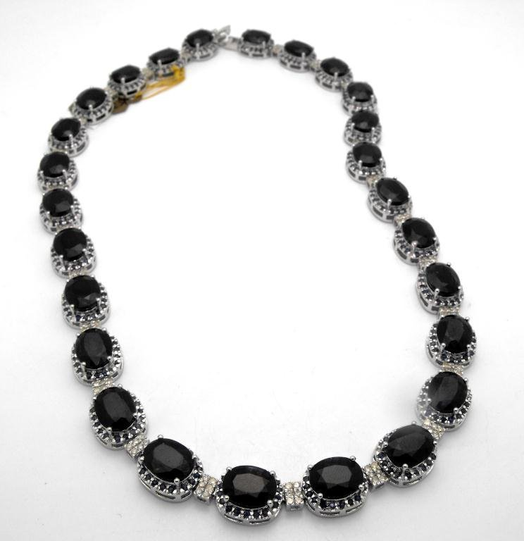 E- $35,643 Sapphire & Diamond Necklace S/S - 3
