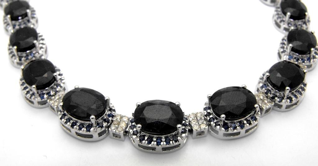 E- $35,643 Sapphire & Diamond Necklace S/S - 4