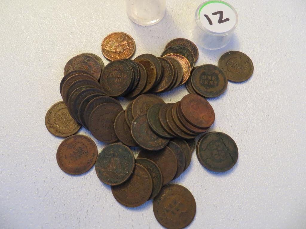 Lot of 50 Indian head Cents in Roll
