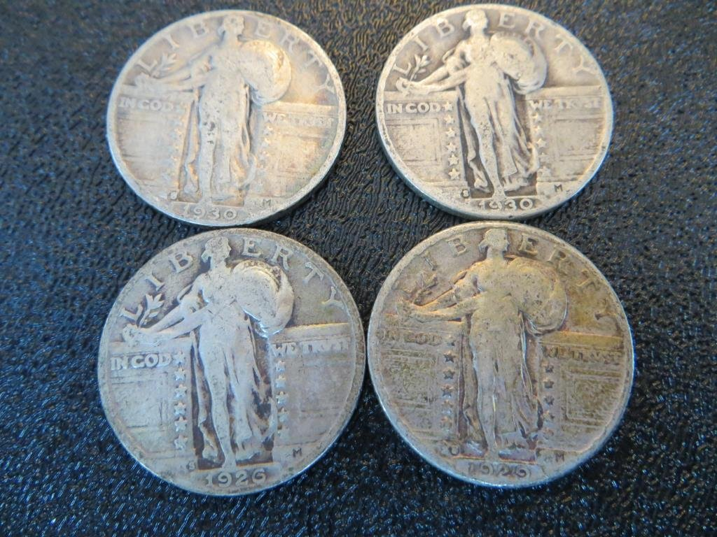1926-1929-1929-1930 S Mint Walking Liberty 25c