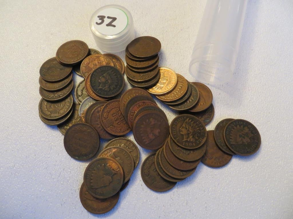 Roll of 50 Indian Head Cents in Roll