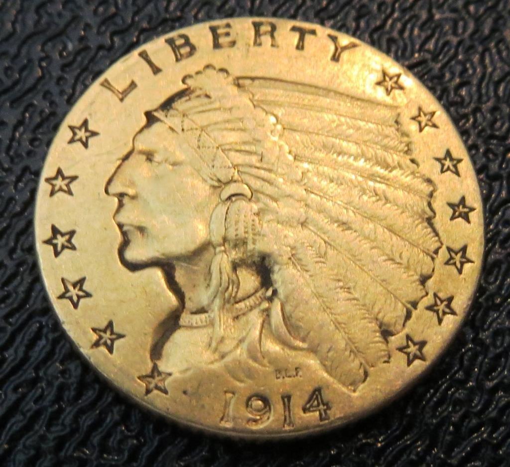 1914 D $2.5 Gold Indian Coin