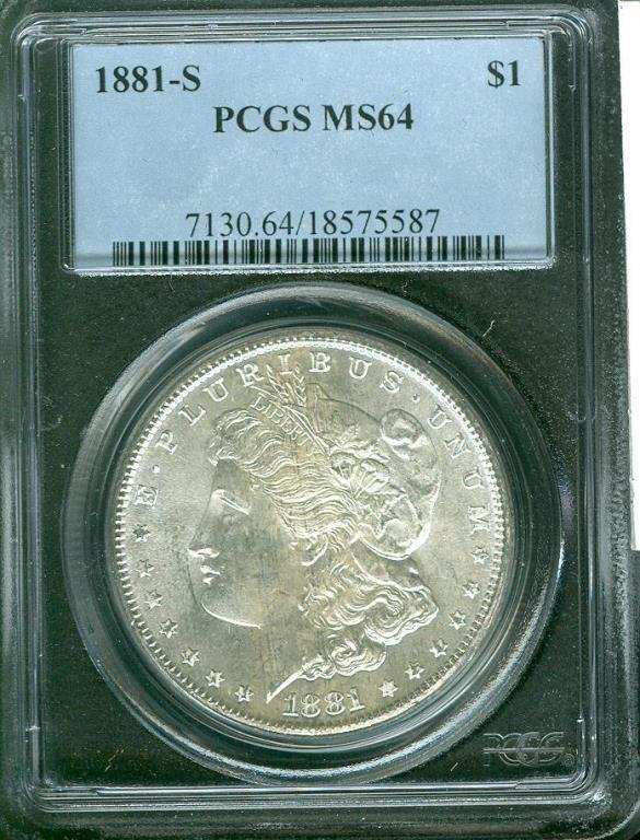 1881 - S MS 64 PCGS Morgan Dollar