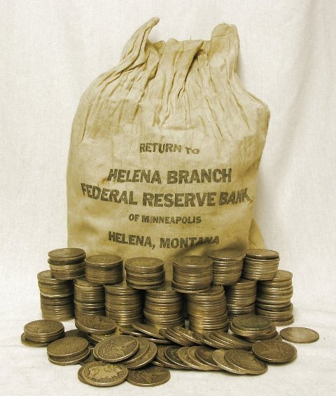 Unsearched Bank Bag of Morgan Silver Dollars-500