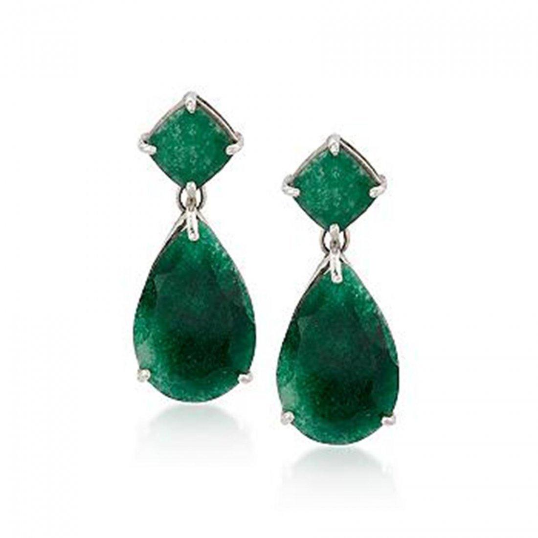 20.00 ct. t.w. Emerald Earrings in Sterling Silver