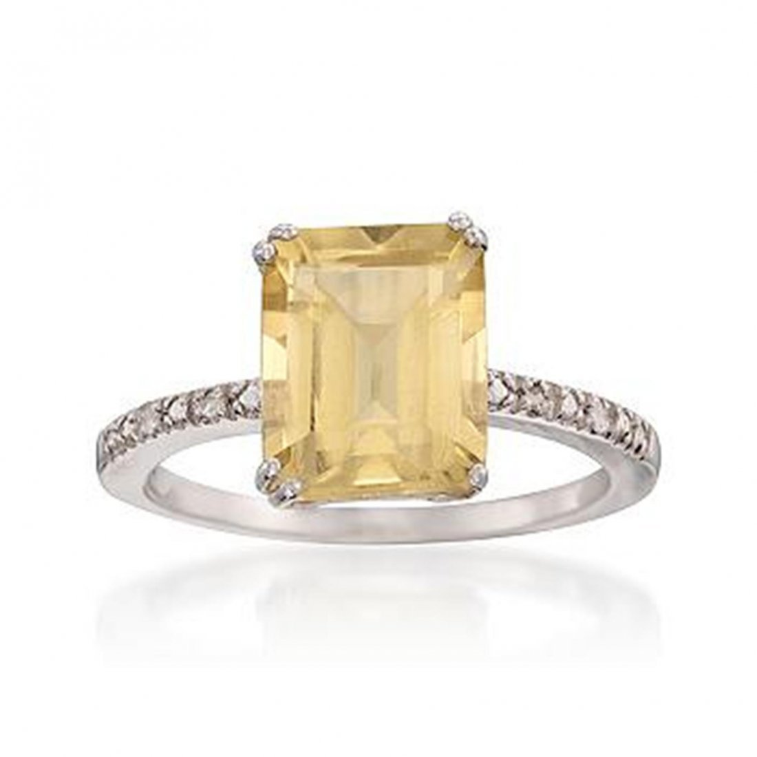 3.30 Carat Lemon Quartz Ring With Diamonds in Sterling