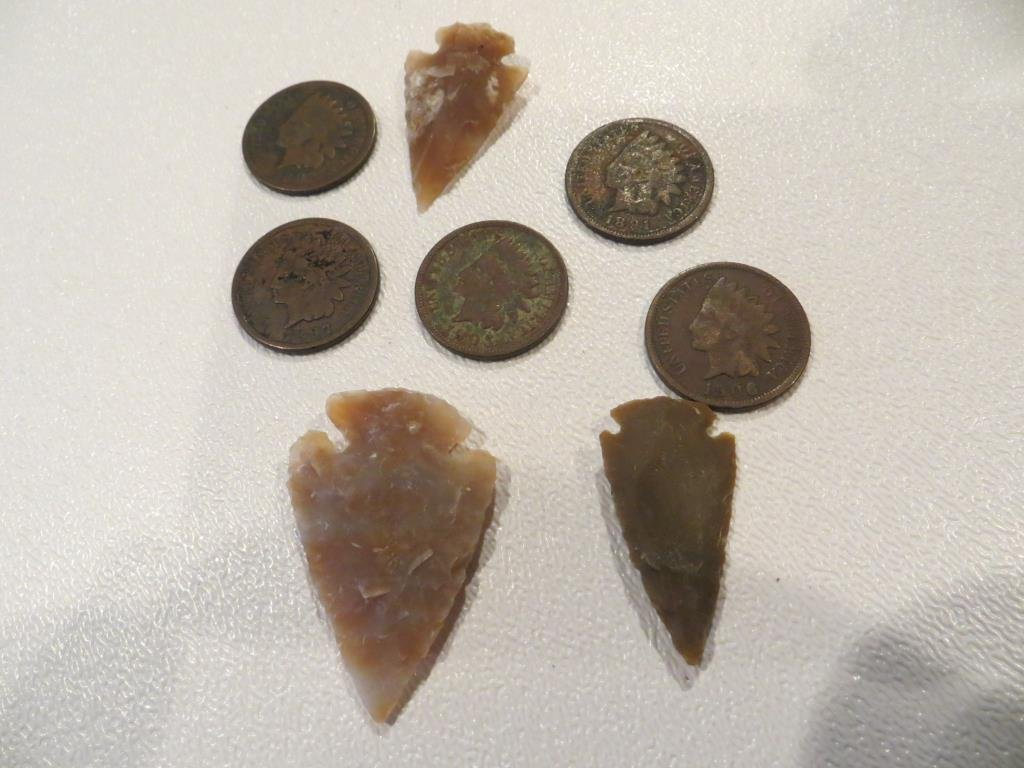 Lot of Indian Head Cents and Arrowheads