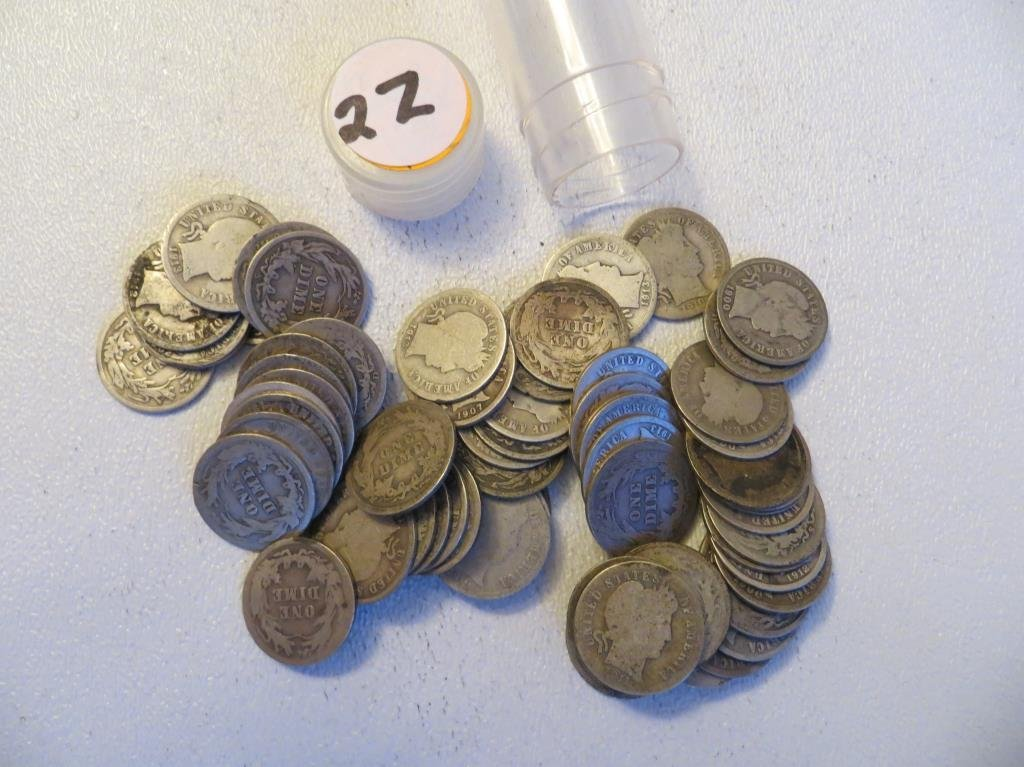 Roll of 50 $ 5 Face Value Barber Dimes
