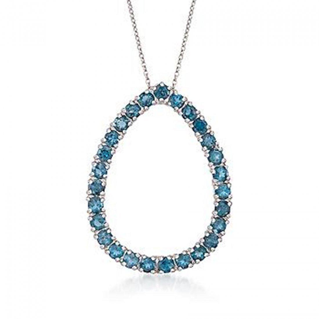 3.20 ct. t.w. London Blue Topaz Teardrop Necklace in