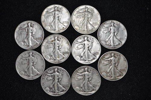 Lot of 10 Walking Liberty Halves- Mixed Dates-