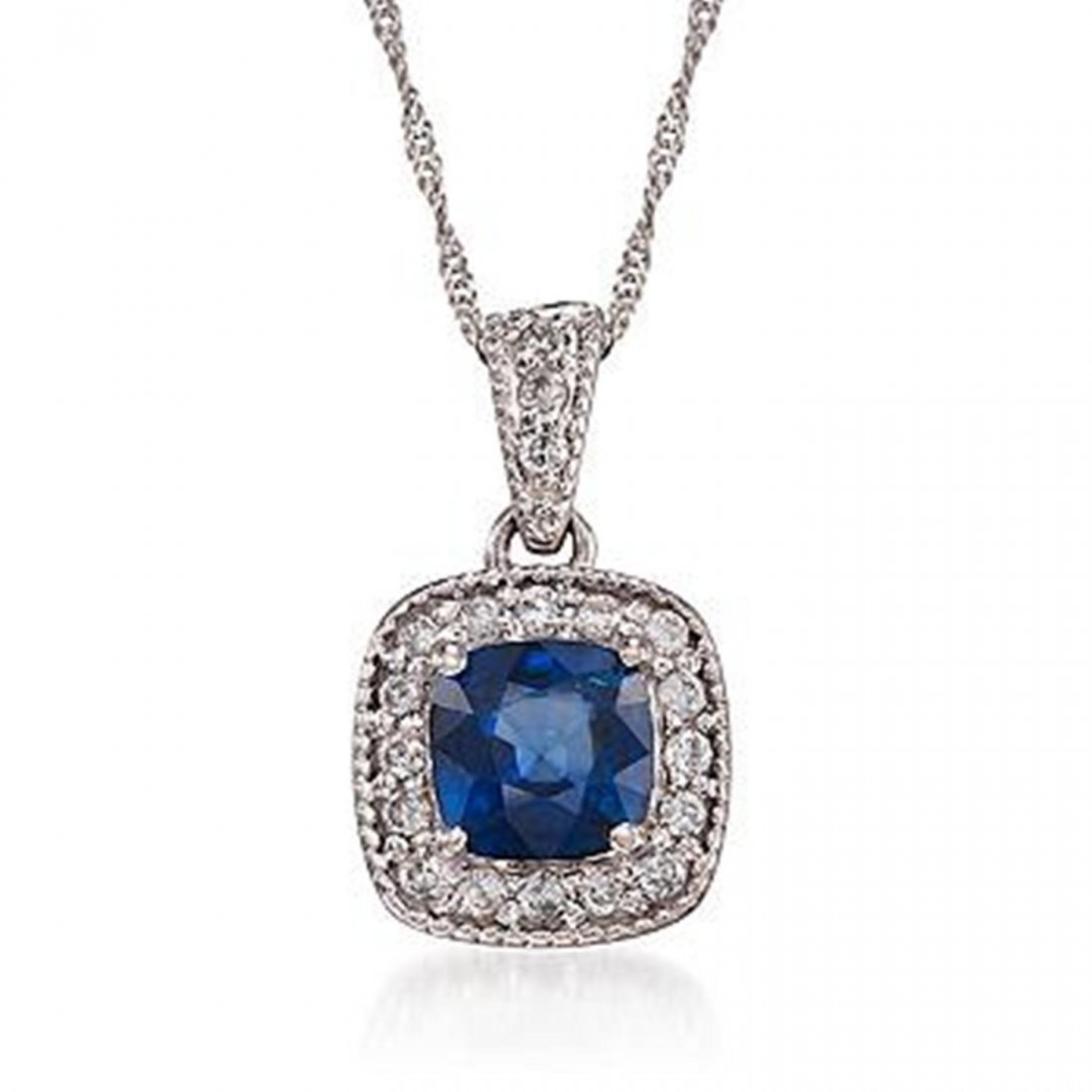 1.05 Carat Sapphire and Diamond Pendant Necklace in