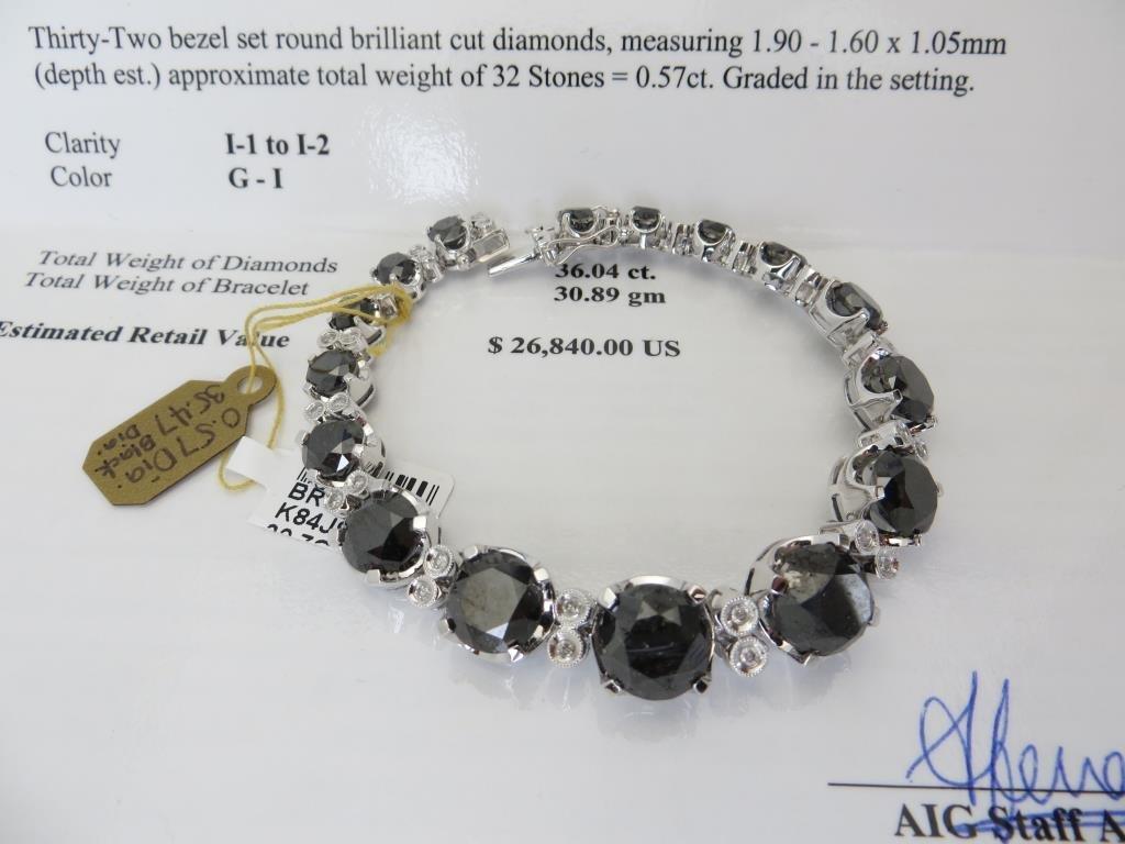 35.47 tcw. Black Diamond Bracelet $ 26k app.