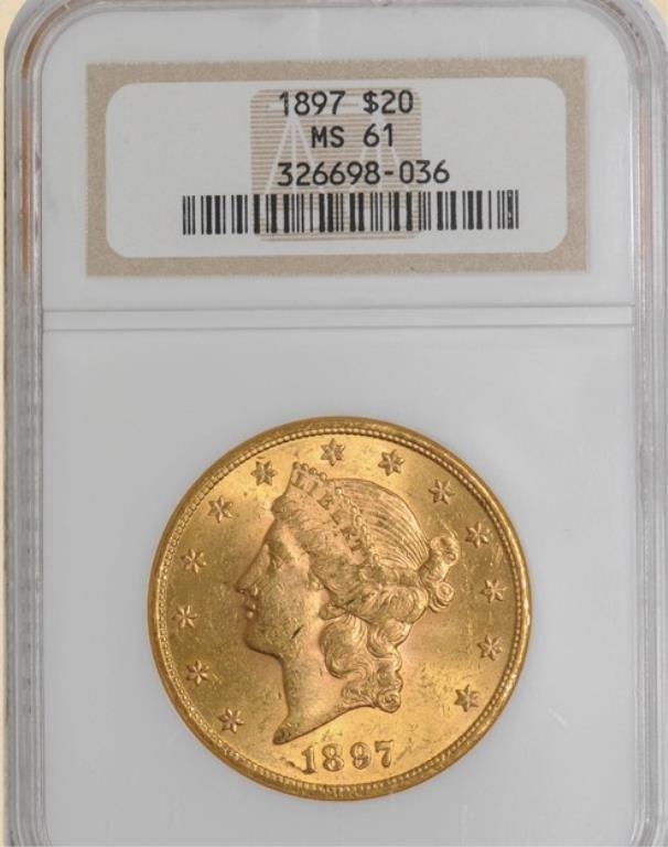 1897 $20 Liberty MS61 NGC