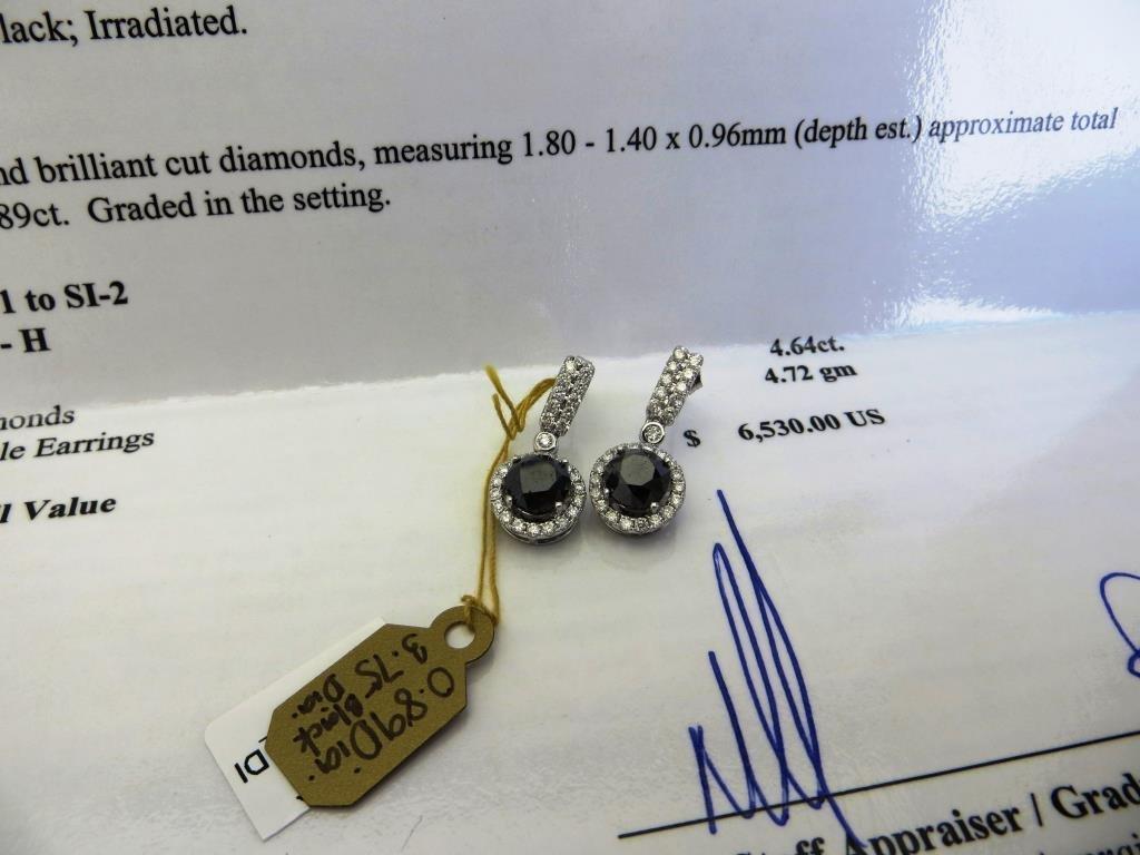 $6530 Black Diamond Earrings 14k WG