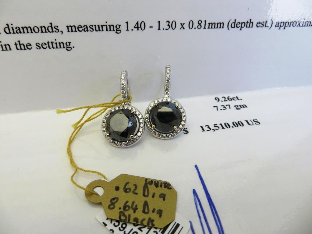 $13,510 App. Black Diamond Earrings 18k WG