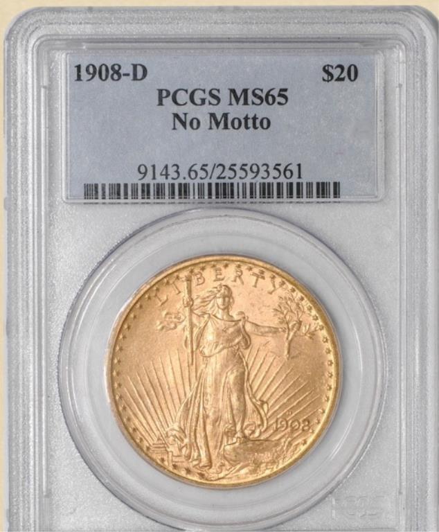1908-D$20 St. Gaudens MS65 PCGS No Motto
