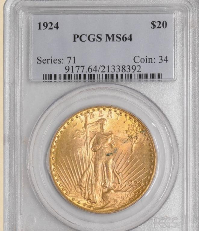 1924 $20 St. Gaudens MS64 PCGS