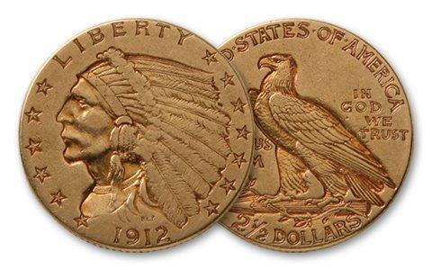 $2.5 Gold Indian Random Year XF Plus