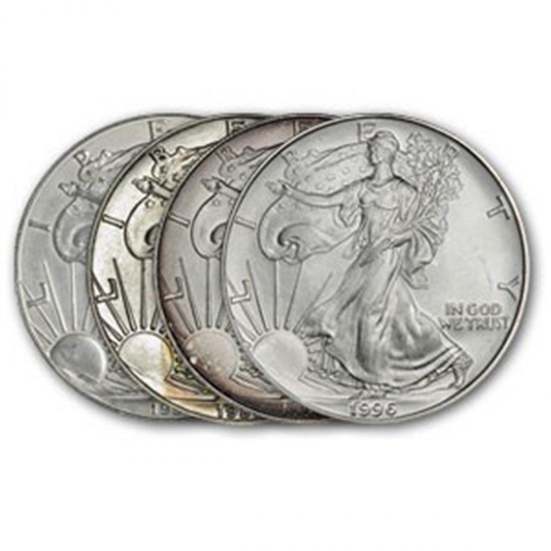 Lot of 4 Random Date US Silver Eagles