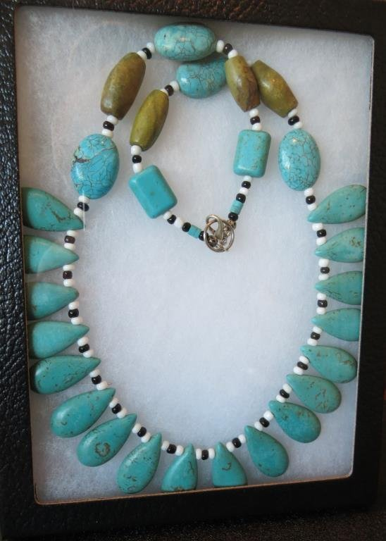 Natural Turuoise and Stone Indian Necklace