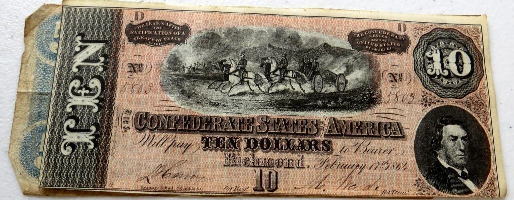 $10 Confederate Currency FIne Grade