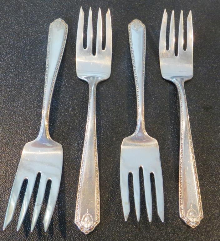 (4) Lady Hilton Sterling Dessert Forks