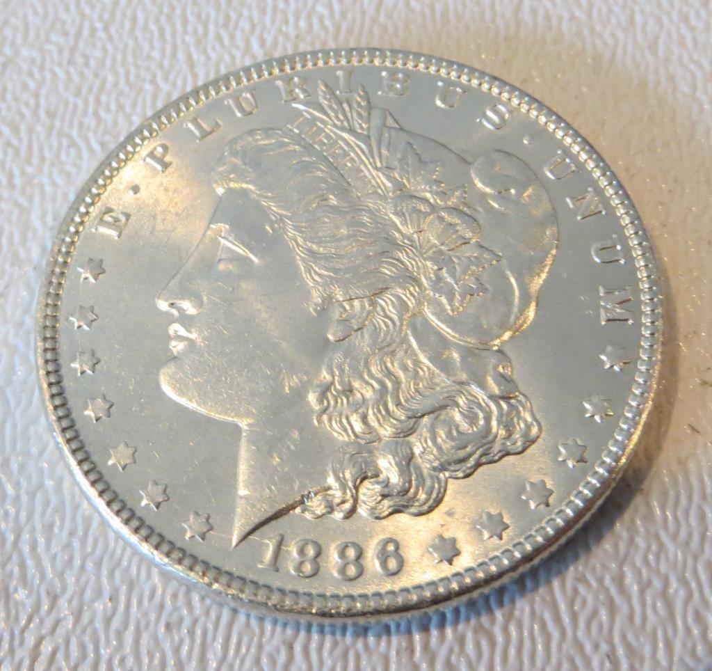 1886 P UNC Morgan Silver Dollar