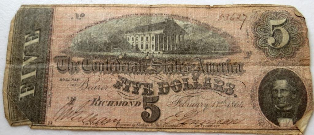 $5 Confederate Currency Good Grade