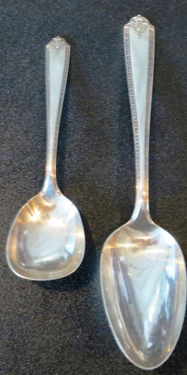 (2) Serving Spoons Lady Hilton Pattern Sterling