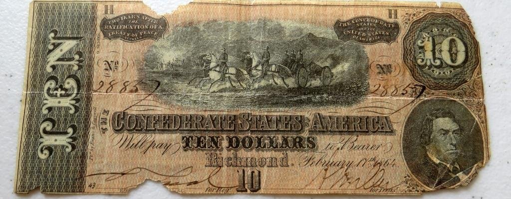 $10 Confederate Currency VG grade