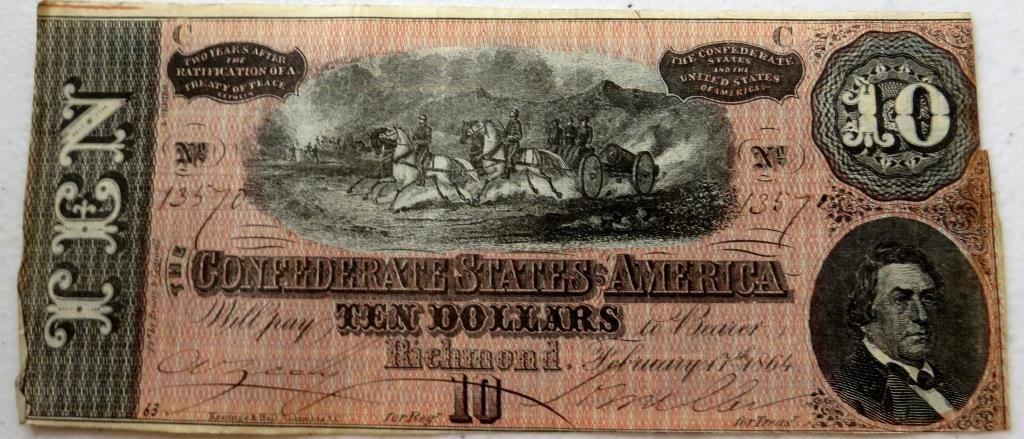 1864 Confederate Currency $ 10 Note