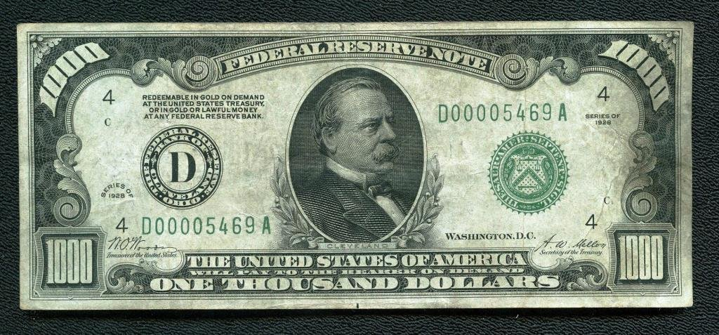 1928 Green Seal Series A $ 1000 Bill