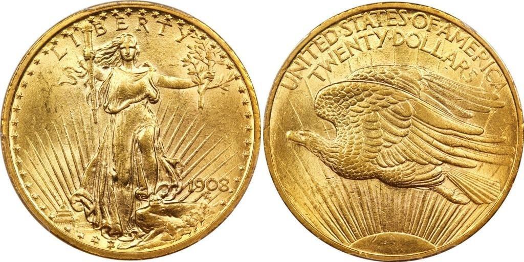 1908 No Motto $ 20 St. Gauden's Gold Coin BU