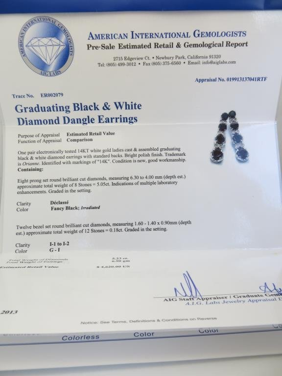 5.05 tcw. Black Diamond Drop E/R $4620 App. - 2