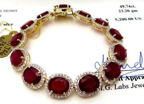 $5,200 App. Ruby & Sapphire Bracelet