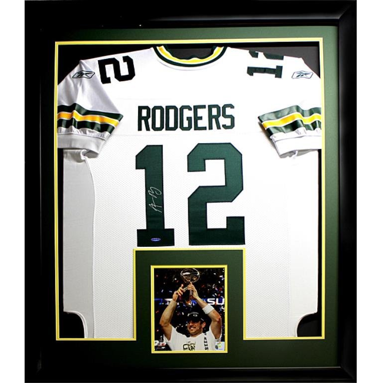 Aaron Rodgers Autographed Deluxe Frame Jersey