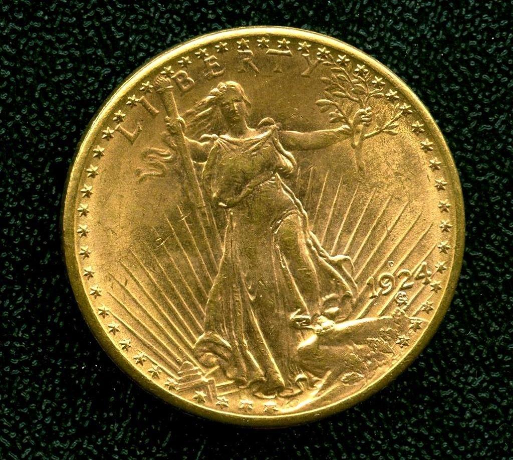 1924 D RARE KEY Date $ 20 St. Gauden's Gold Db. Eagle