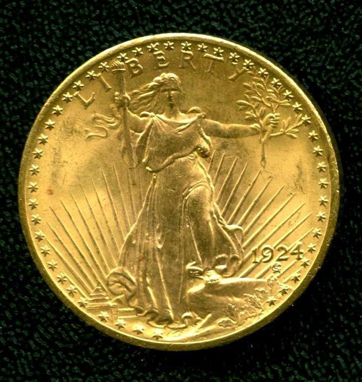 1924 P $ 20 Better Date $20 St. Gauden's Gold Coin