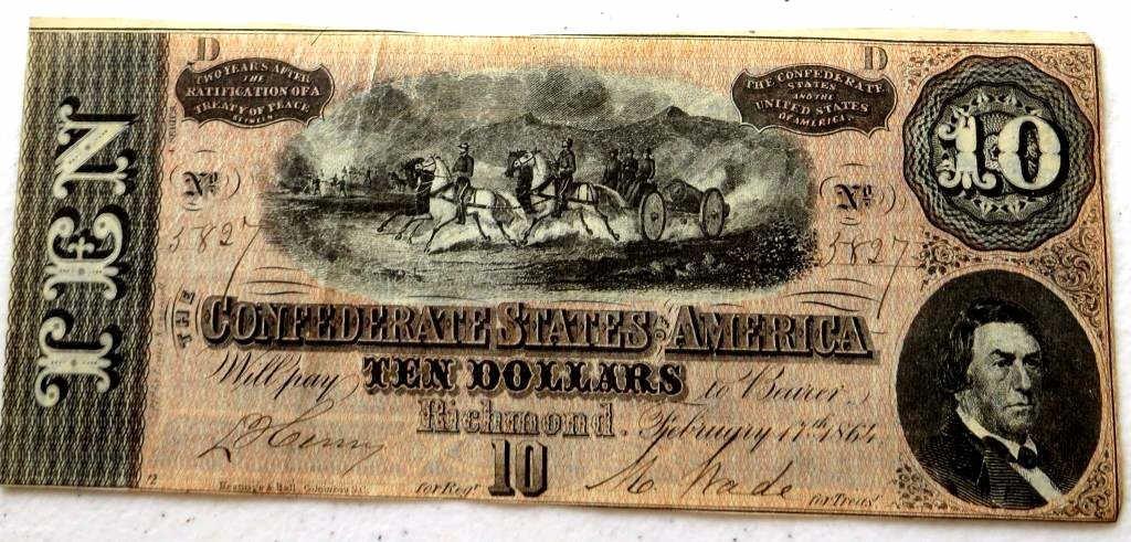 $10 Currency  Confederate Note AU-UNC