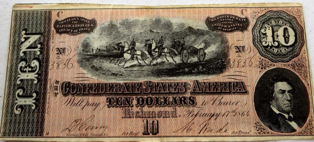 $10 AU-UNC Confederate Currency