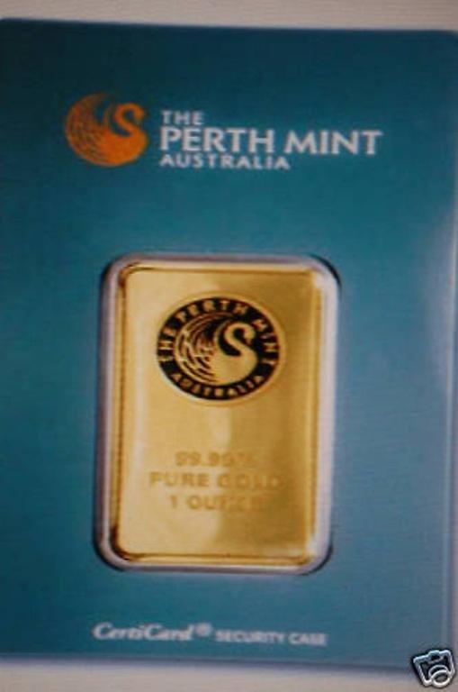 1oz Perth/Pamp or Other 999.9 Gold Bullion Ingot .