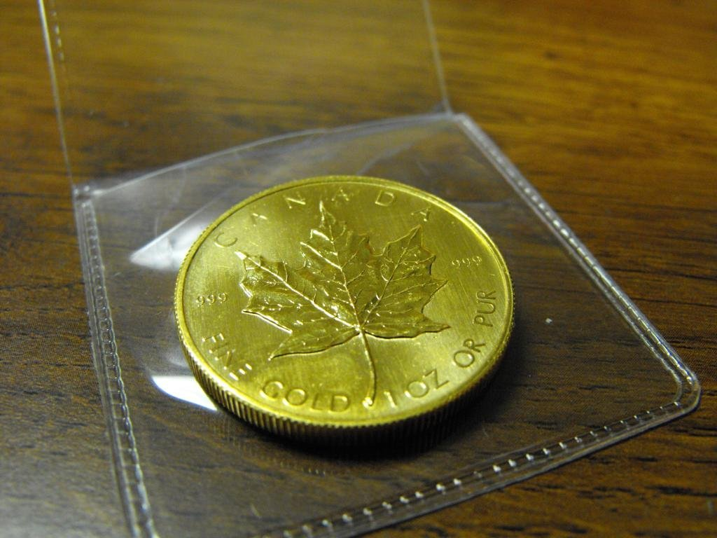A 1 oz. Gold Maple Leaf Bullion