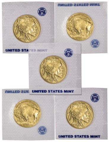 Lot of 5 US Gold Buffalo 24k - 5 oz. Gold