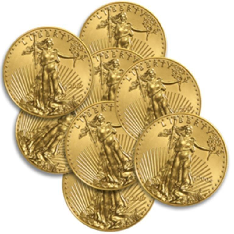Lot of 8 Us Gold Eagle Bullion - 8 oz.