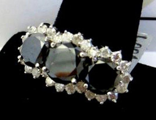 5.19 ct Black Diamond Tri Stone Ring $15.8K