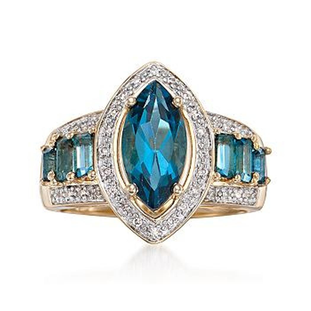 2.70 ct. t.w. London Blue Topaz and .10 ct. t.w.