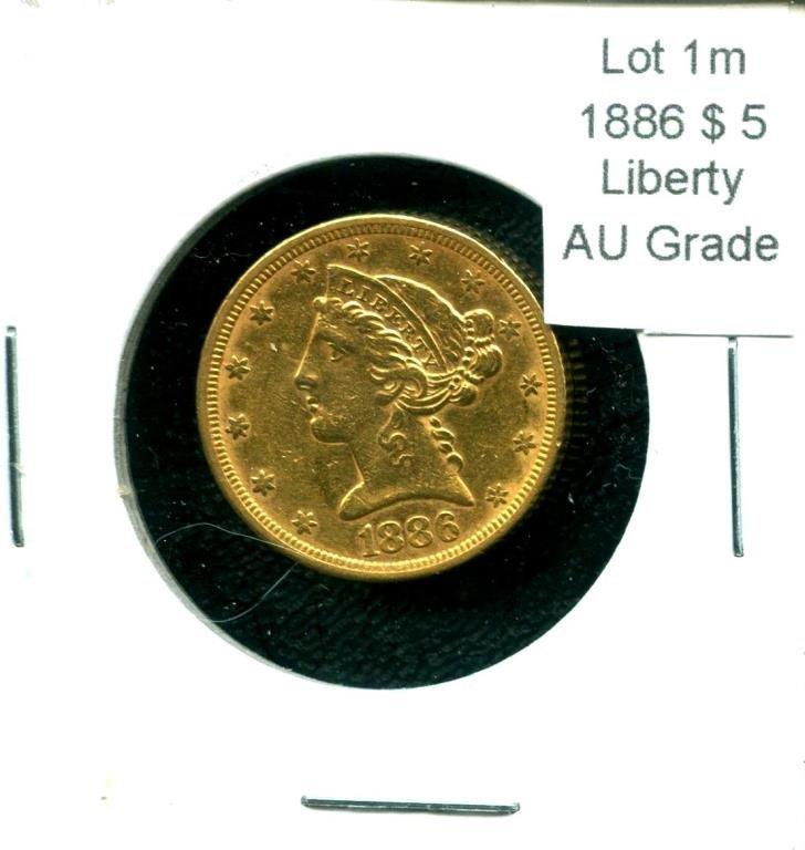 1866 $ 5 Liberty AU Grade Gold