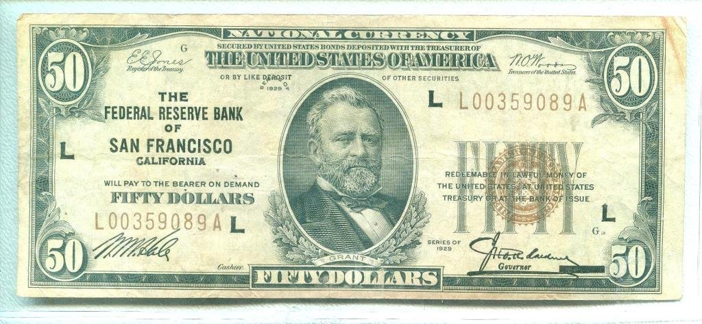 1929 San Francisco Federal Reserve Bank $ 50