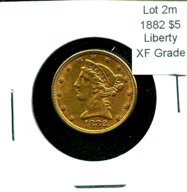 1882 $ 5 Liberty Gold XF Grade