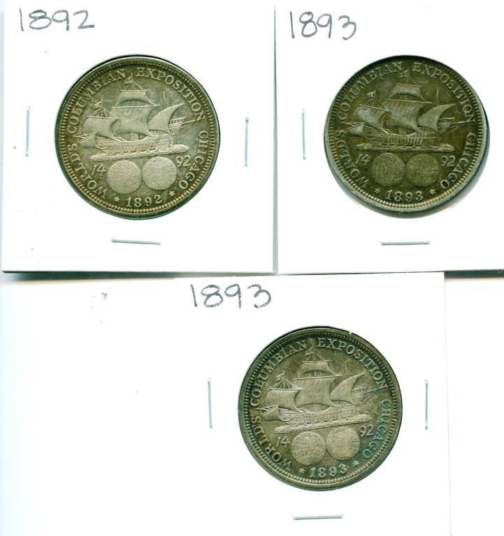 (3) 1892-3 Columbian  Expo Halves
